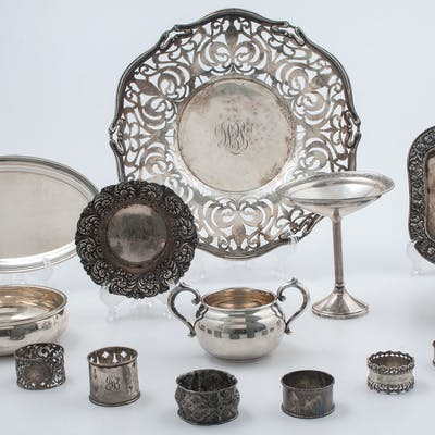 Sterling Silver Tableware Including Trays and Napkin Rings