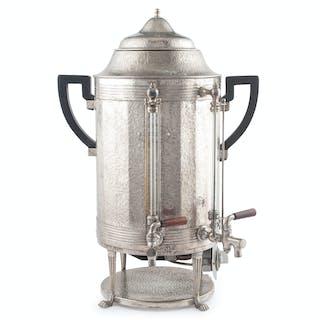 Joseph Heinrichs Hammered Nickel Silver and Copper Coffee Urn