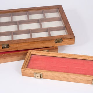 Three Wood and Glass Display Frames / Cases