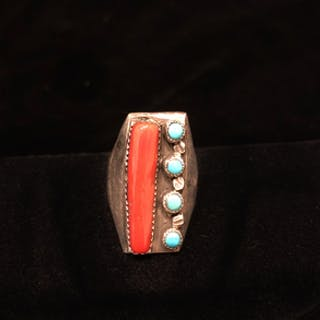 Southwest Sterling Silver, Turquoise, and Coral Ring