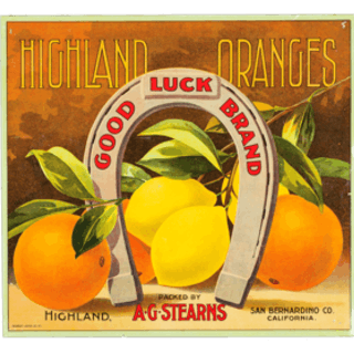 """Fruit Label - """"Good Luck Brand"""" Highland Oranges by A.G. Stearns, California"""