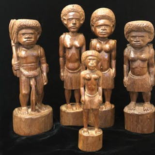 Five New Caledonia Wood Figures