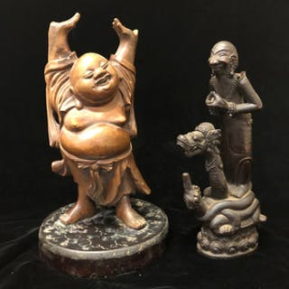 """Laughing Buddha"" (Ho Tai) and Another Asian-Style Wood Figure"