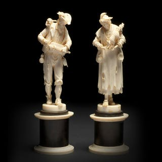 A pair of German carved ivory, depicting a couple of beggars - Ralph Gierhards