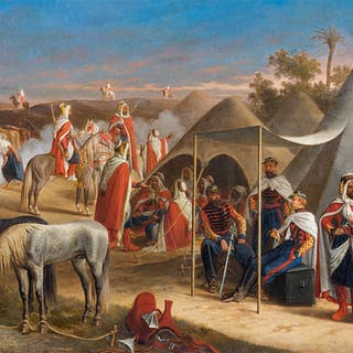 Oriental camp with Bedouin and cavalrymen - Ralph Gierhards
