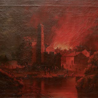 Burning city by night with inhabitants gathering by a lake - Ralph Gierhards