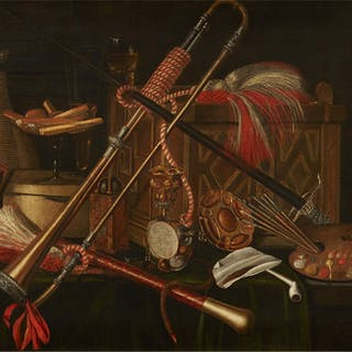 Still life with a chest, musical instruments, painters palette, hour