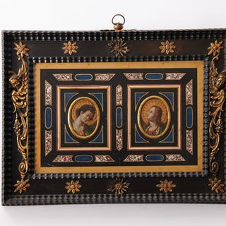 Marble and Pietra Dura plaque with depiction of the annunciation -