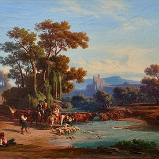 Shepherds at the ford in the Italian Campagna - Ralph Gierhards