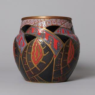 "Enameled copper vase ""Fantasy Pattern"" - Ralph Gierhards"