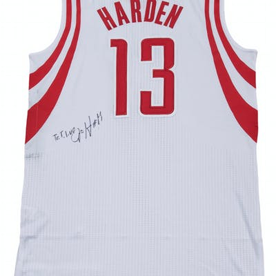 huge selection of b0984 5bf9b 2012-13 James Harden Game Used & Signed Houston Rockets Home ...