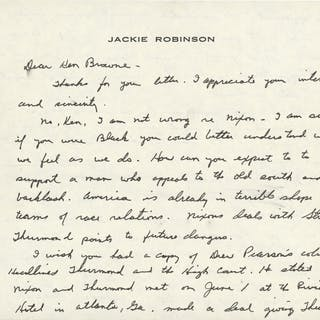 1968 Jackie Robinson Signed Handwritten Letter Criticizing Then Candidate
