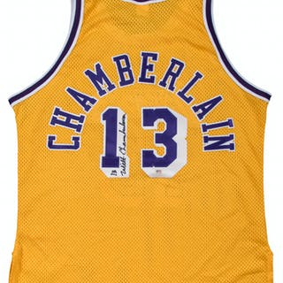 Wilt Chamberlain Signed Los Angeles Lakers Home Jersey (Arenas LOA & PSA/DNA)
