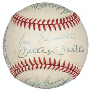 Hall of Famers & Legends Multi Signed OAL Brown Baseball With 14 Signatures