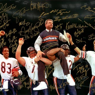 1985 Chicago Bears Team Signed 16x20 Super Bowl XX Victory Photo With