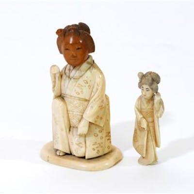 A Japanese Carved And Stained Bone Okimono Of A Geisha Barnebys