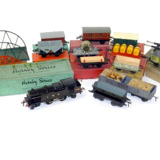 Hornby O Gauge Electric 4-4-2 Tank engine, Rolling Stock and Meccano