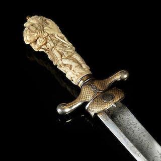 Prunkkurzschwert (Hirschfänger) mit Elfenbeingriff, wohl von Hans