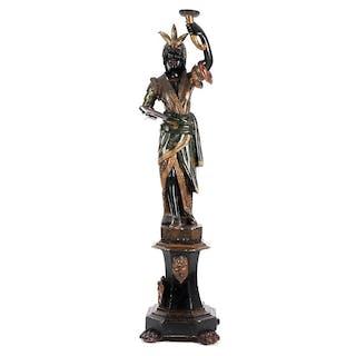 Venezianische Schnitzfigur als Lampen- und Schalenträgerin
