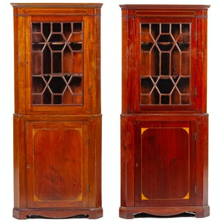 A Pair of Federal Style Mahogany Corner Cabinets
