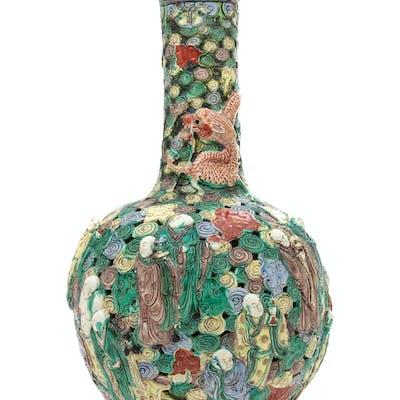 A Large Chinese Famille Verte Porcelain Reticulated Bottle Vase