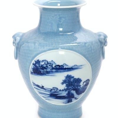 A Chinese Clair-de-Lune Ground Underglaze Blue Porcelain Zun Vase