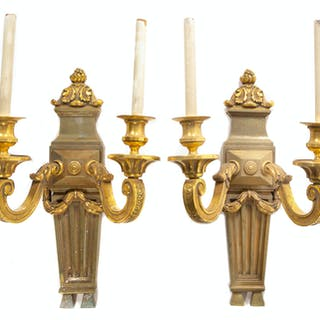 A Pair of Neoclassical Style Gilt Bronze Two-Light Sconces