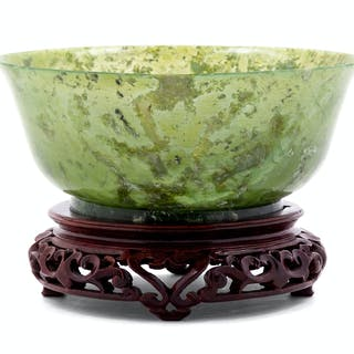 A Chinese Carved Spinach Jade Bowl