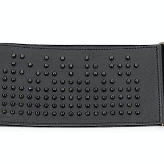 A Balmain Black Studded Leather Belt, 1980-90s