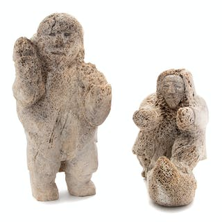 Two Inuit Carved Whalebone Folk Art Figures