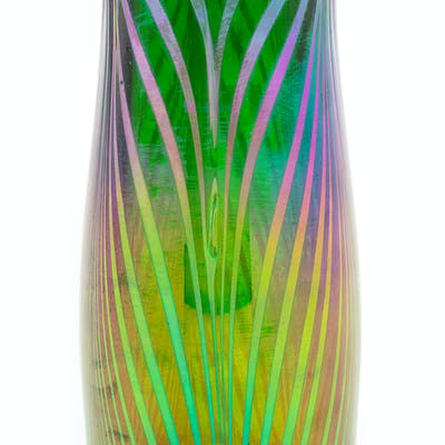 An Austrian Iridescent Pulled Feather Glass Vase