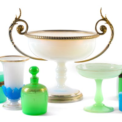 A Group of Eleven Opaline Glass Articles