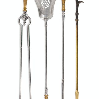 A Set of English Steel and Brass Fireplace Tools