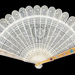 A Swiss 14-Karat Gold and Semi-Precious Stone Brisé Fan