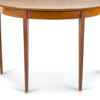 A George III Style Mahogany Demilune Table