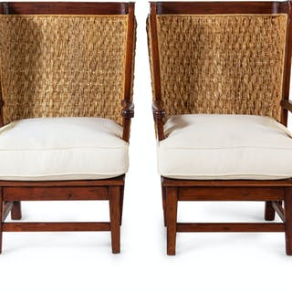 A Set of Four British Colonial Style Woven-Back Armchairs