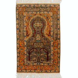 A Hereke Silk Prayer Rug