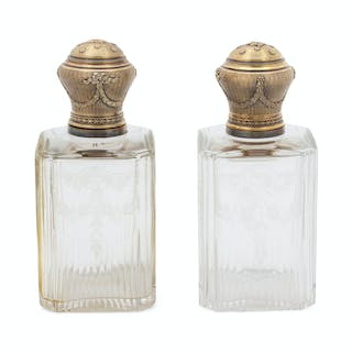A Pair of French Etched Glass and Vermeil Topped Decanters