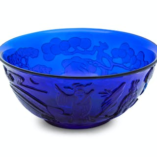 A Chinese Carved Transparent Blue Glass Bowl
