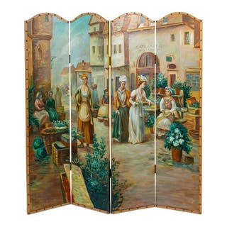 A Four Panel French Painted Screen 20TH CENTURY depicting woman in a courtyard.