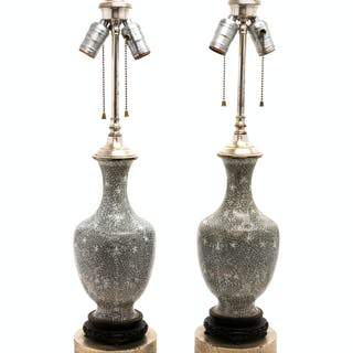 A Pair of Chinese Export Cloisonne Lamps