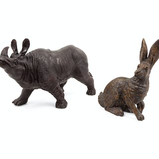 A Bronze Rabbit and a Bronze Rhinoceros