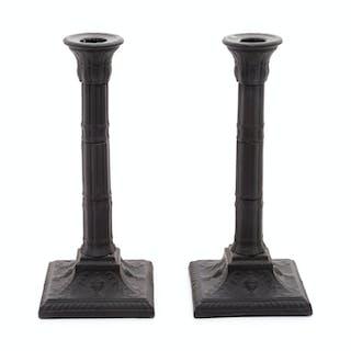 A Pair of Basalt Candlesticks