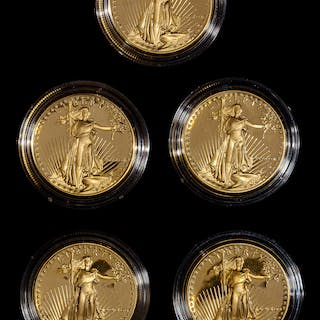 *A Group of Five United States 1986 Gold Eagle 1 Oz. Gold Proofs
