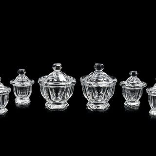 Six Baccarat Molded Glass Condiment Jars