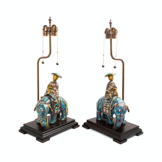 A Pair of Chinese Export Cloisonné Table Lamps