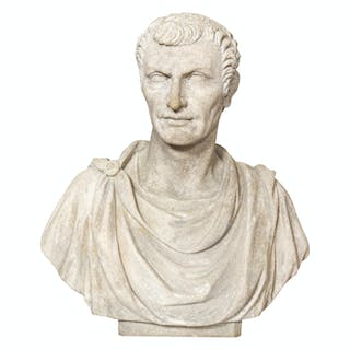 A Cast Stone Bust of a Man