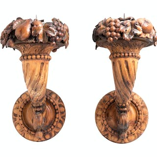 A Pair of Continental Carved Fruitwood Sconces
