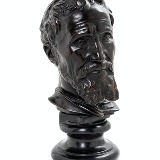 A Cast Metal Bust of a Man