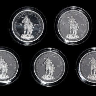 *A Group of Five Swiss Confederation 1986 William Tell 1 oz. Platinum Rounds